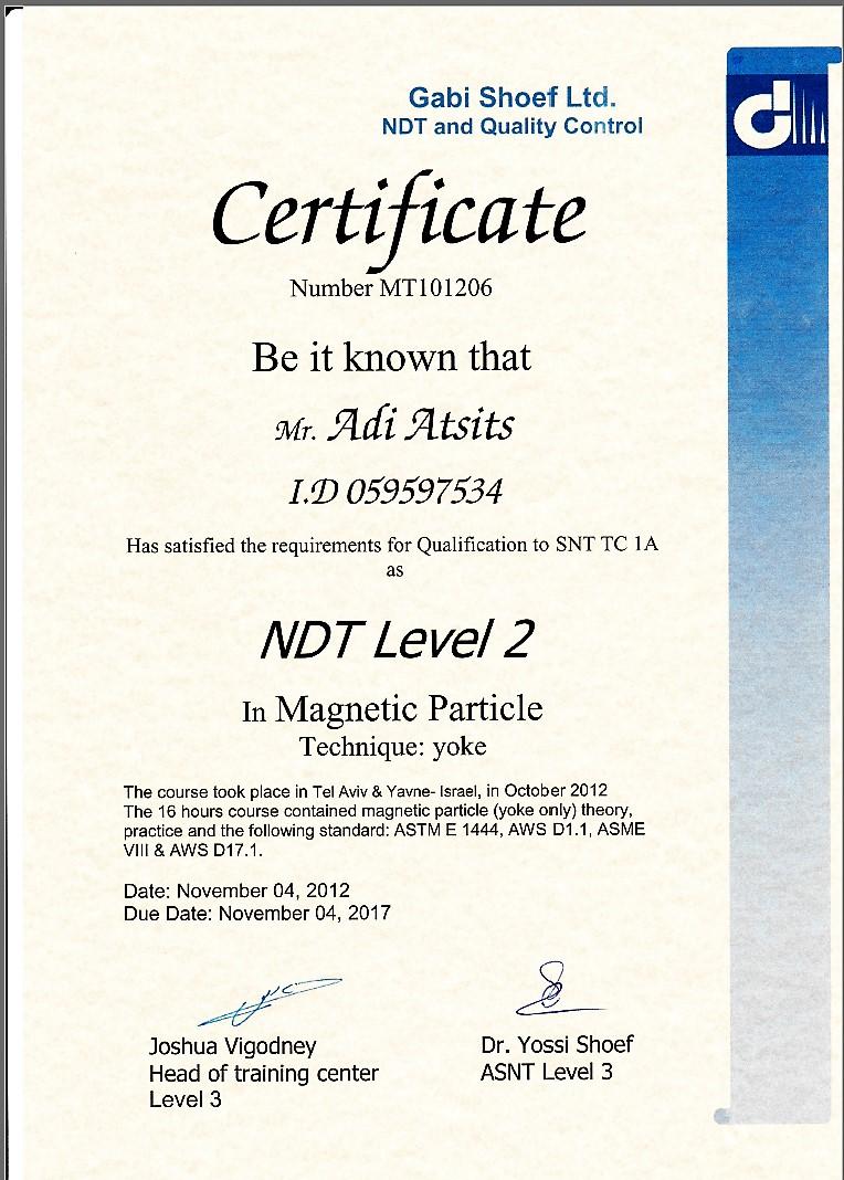 הסמכה לבדיקות חלקיקים מגנטיים MT רמה 2