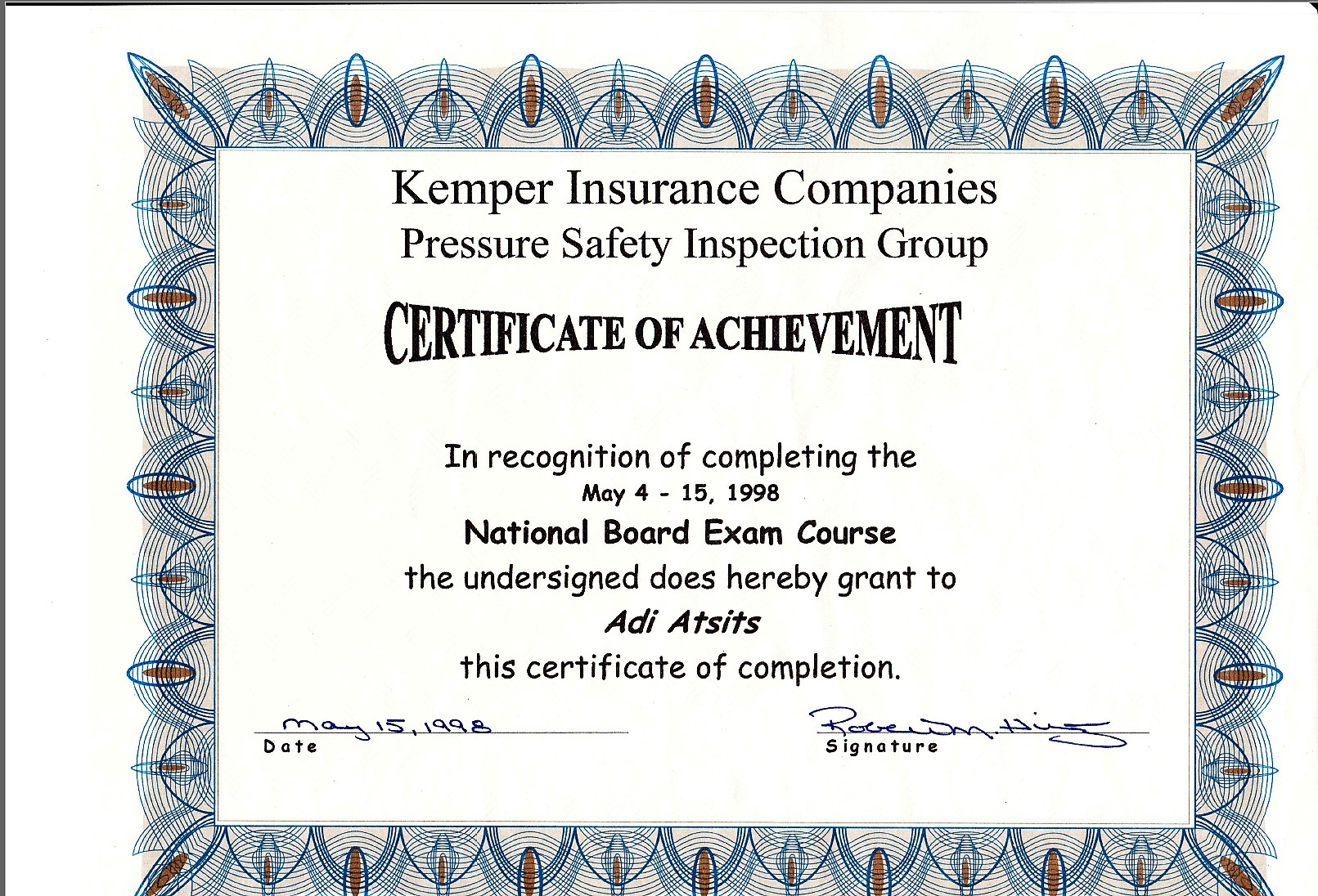 National Board Exam Course of Pressure Equipment
